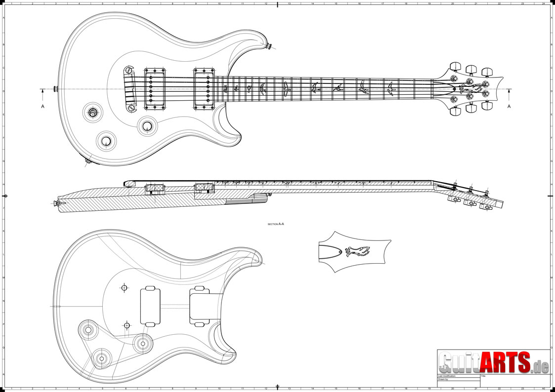 preview of a PRS style guitar building plan.